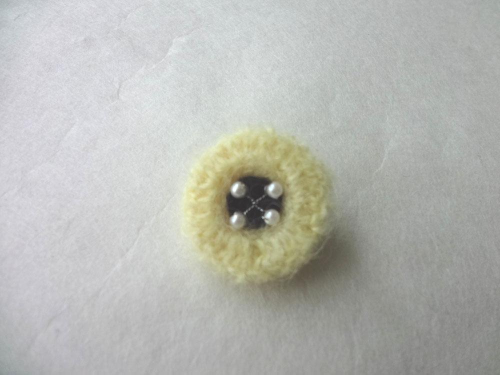 画像1: ニット丸花ブローチ