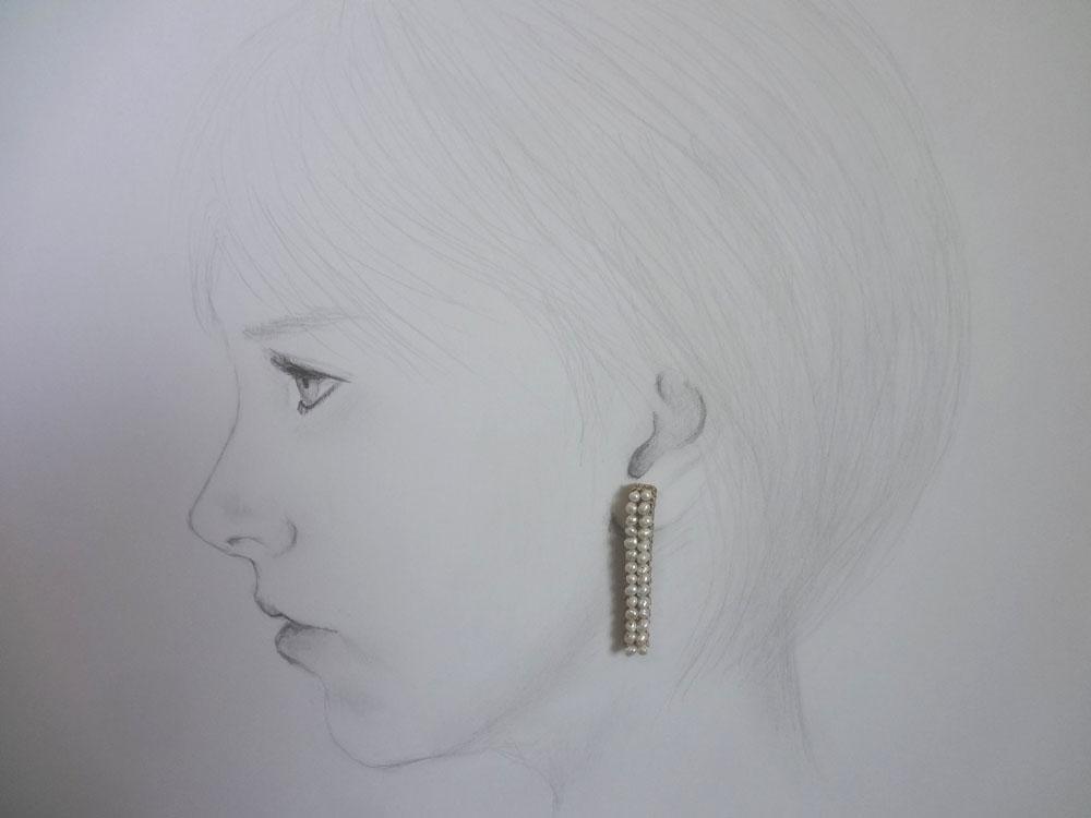画像4: パール編込み ピアス プレート型(方耳)